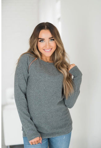 Charcoal Side Zip Sweatshirt