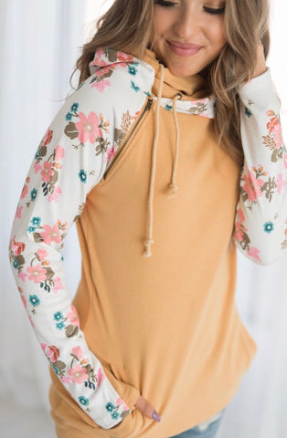 Floral Accent Double Hooded Sweatshirt