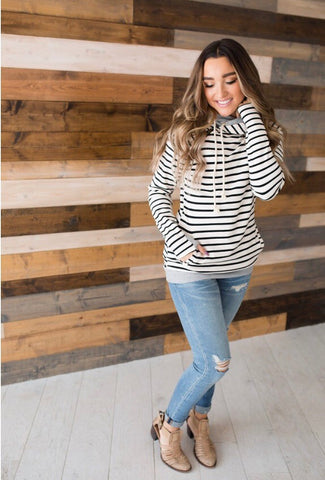 Tan Stripe Double Hooded Hoodie