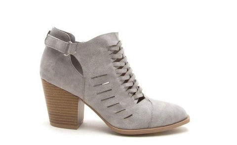 Light Grey Block Heel Bootie