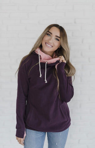 Sweetheart Plum and Pink Double Hooded Sweatshirt