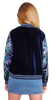 Image of Crushed Velvet bomber jacket in Navy with floral contrast sleeves