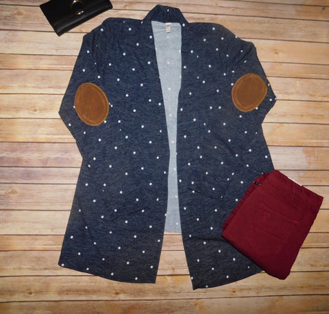 Navy and Polka Dot Cardigan