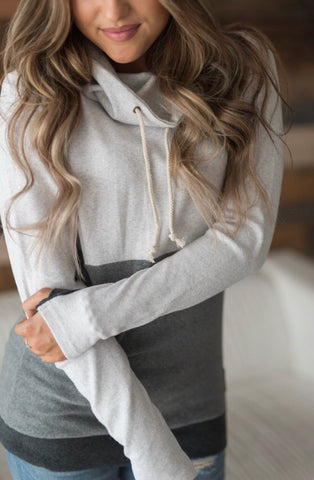 Cowl Neck Sweatshirt- Grey Block
