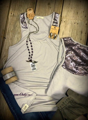 Gray Glam Tank with Plum Sequin