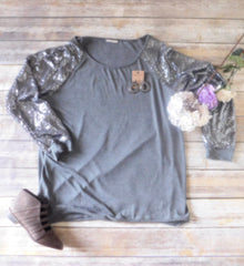 Glam Gray Top