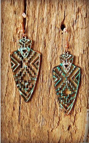 Aztec Silver and Patina Arrowhead Earrings