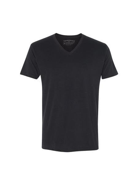 TankFarm APPAREL - TOPS - BLANK TEES - TF SUEDED V-NECK, BLACK