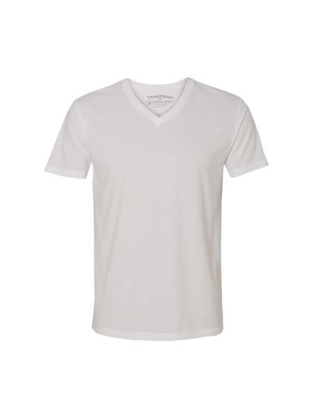 TankFarm APPAREL - TOPS - BLANK TEES - TF SUEDED V-NECK, WHITE