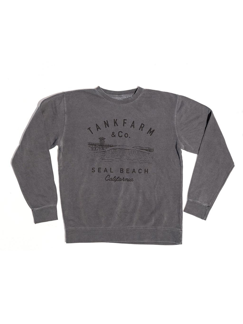 SHORE BREAK CREW NECK - VINTAGE BLACK - Tankfarm & Co.