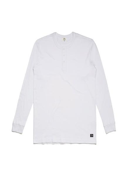 TankFarm APPAREL - TOPS - LONGSLEEVES - TF LONG SLEEVE HENLEY- WHITE