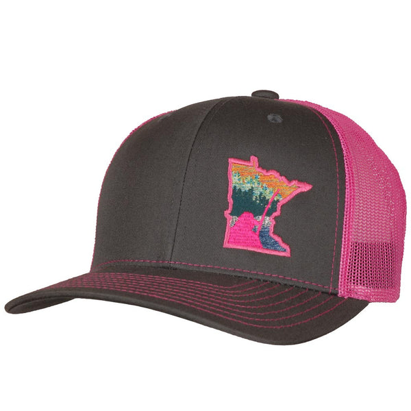 Minnesota Billy Fish Forest, Charcoal Pink snapback hat StateRun