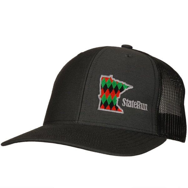 Minnesota Diamond red green black snapback hat staterun