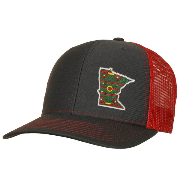 StateRun MN Hockey Charcoal Red State of Hockey