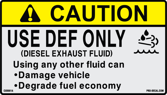 Caution use def only safety and warning decals