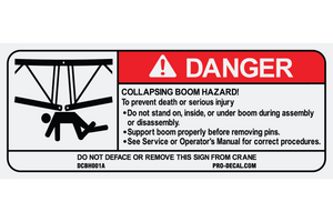 Danger collapsing boom hazard