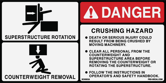 Danger crush hazard superstructure safety and warning decal label