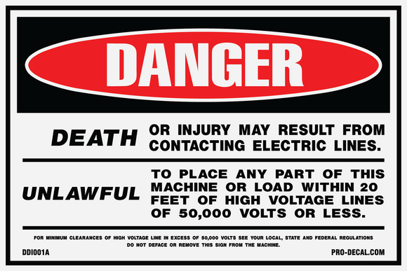 Danger death or injury from contacting electric lines