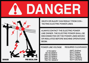Danger death or serious injury can result from contacting power lines safety and warning decal