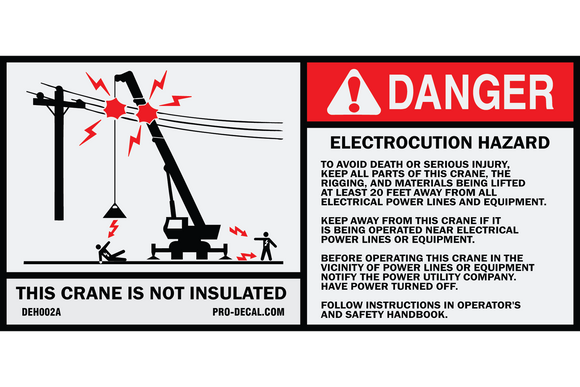 Danger electrocution hazard crane