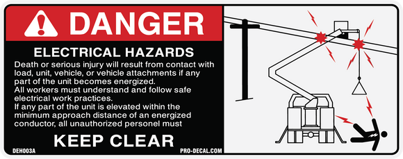 danger electrical hazards safety and warning decal