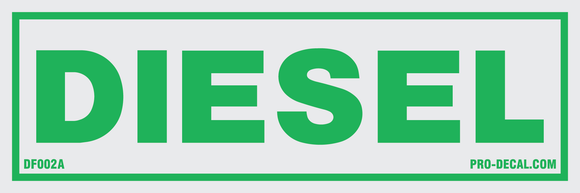 Diesel green safety and warning decal