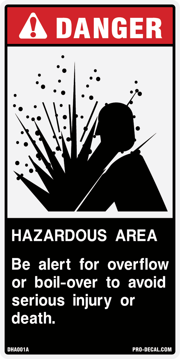 Danger hazardous area safety and warning decal