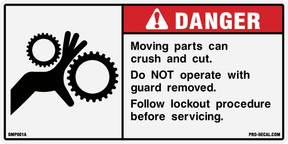 Danger moving parts safety and warning decal