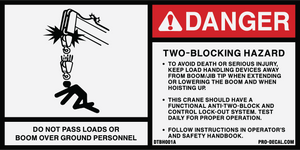 Danger two blocking hazard safety and warning decal label