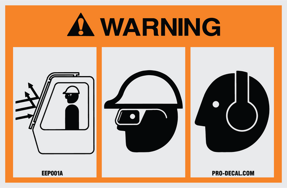 Warning eye and ear protection safety and warning decal
