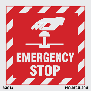 Emergency stop safety and warning decal
