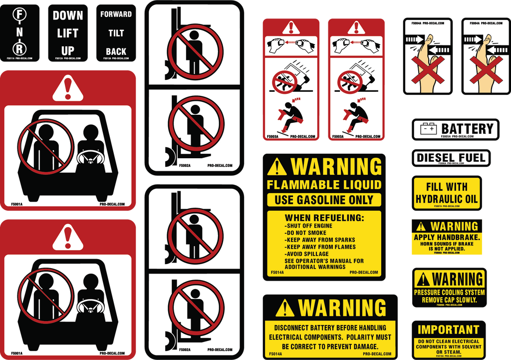 pro decal warning decals universal forklift safety warning