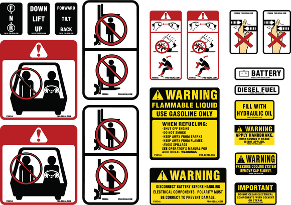 Universal forklift safety and warning decal kit
