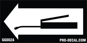 Grease gun arrow safety and warning decal