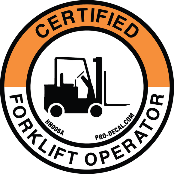 certified forklift operator hard hat decal