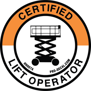 certified lift operator hard hat decal