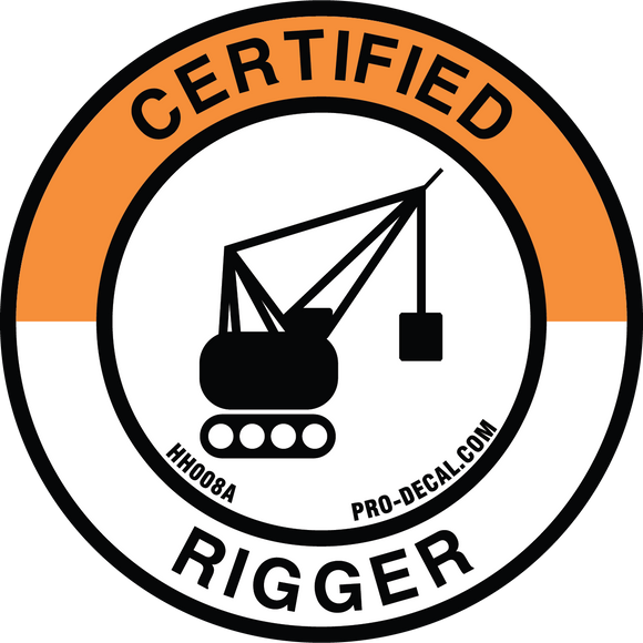 certified rigger hard hat decal