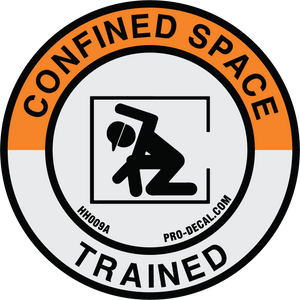 Confined space trained safety and warning hard hat decal