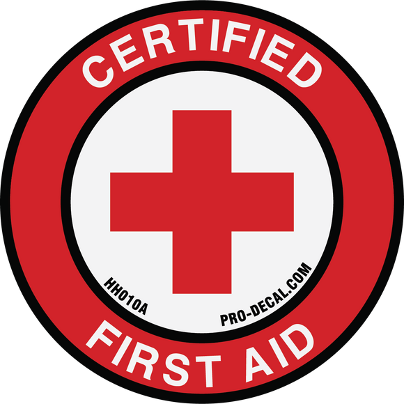 Certified first aid safety and warning hard hat decal
