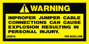 Warning improper jumper cable connections safety and warning decal