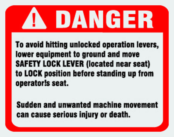 Danger avoid unlocked levers.