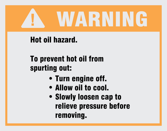 Warning hot oil hazard safety and warning decal