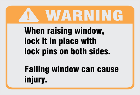 Warning when raising window safety and warning decal