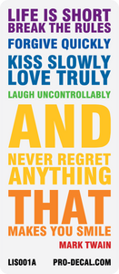 life is short mark twain quote decal