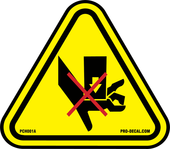 Crush hazard safety and warning decal