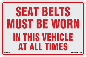 Seat belts must be worn safety and warning decal