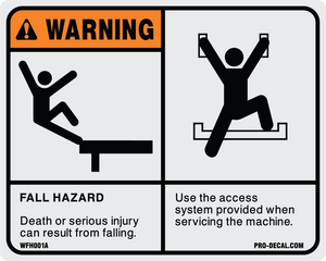 "Warning Fall Hazard 4"" x 5"""