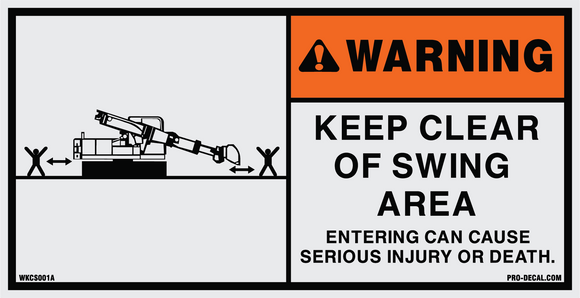 Keep clear of swing area safety and warning decal