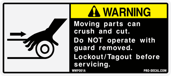 warning moving parts safety and warning decal