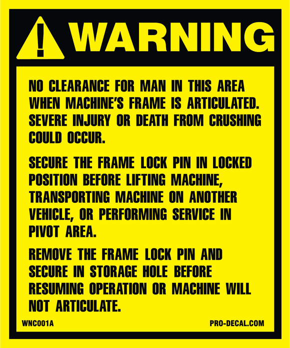 Warning no clearance safety and warning decal